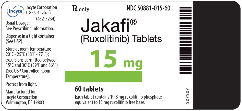 Rx Item-Jakafi 15mg Tablets 1X60 Each By yte Pharma