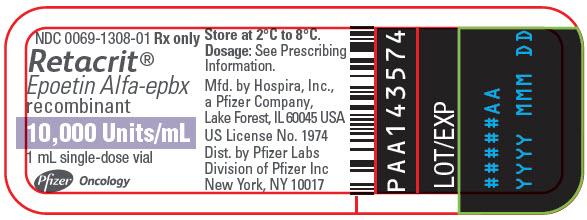 Generic Name: EPOETIN ALFA   Description: RETACRIT SF 10000U/ML 10X1ML     NDC: 00069-1308-10   UPC: 103006-91308100  Contract: