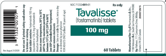RX ITEM-Tavalisse FOSTAMATINIB DISODIUM 100Mg Tablets 1X60 Ea