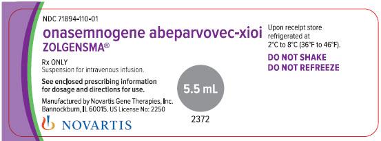 Rx Item-Zolgensma- Onasemnogene Abeparvovec-Xioi Susp 5.5ml For IV By Novartis