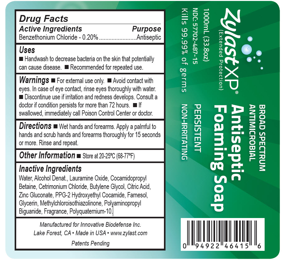 NDC 57702-487-15 Zylast XP Extended Protection Broad Spectrum Antimicrobial Antiseptic Foaming Soap 1000mL (33.8oz)