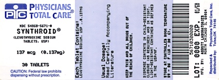 image of 0.137 mg package label