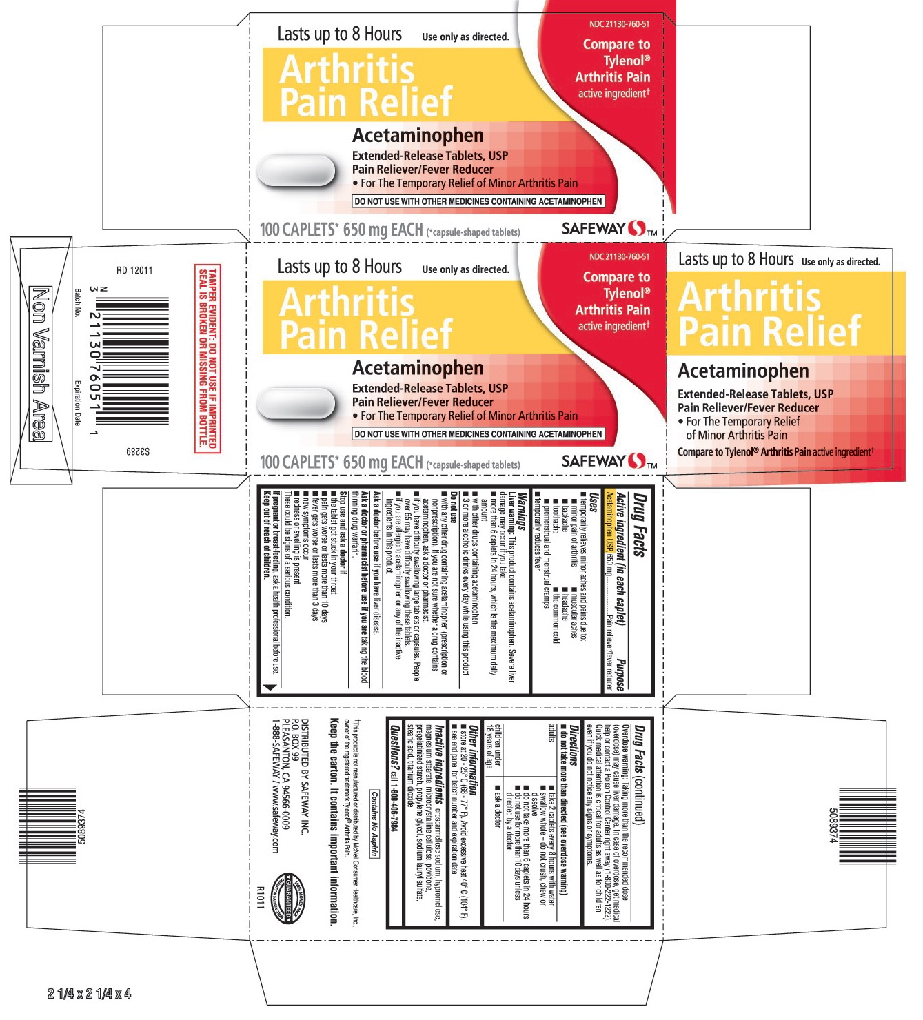 This is the 100 count bottle carton label for Safeway APAP Arthritis.