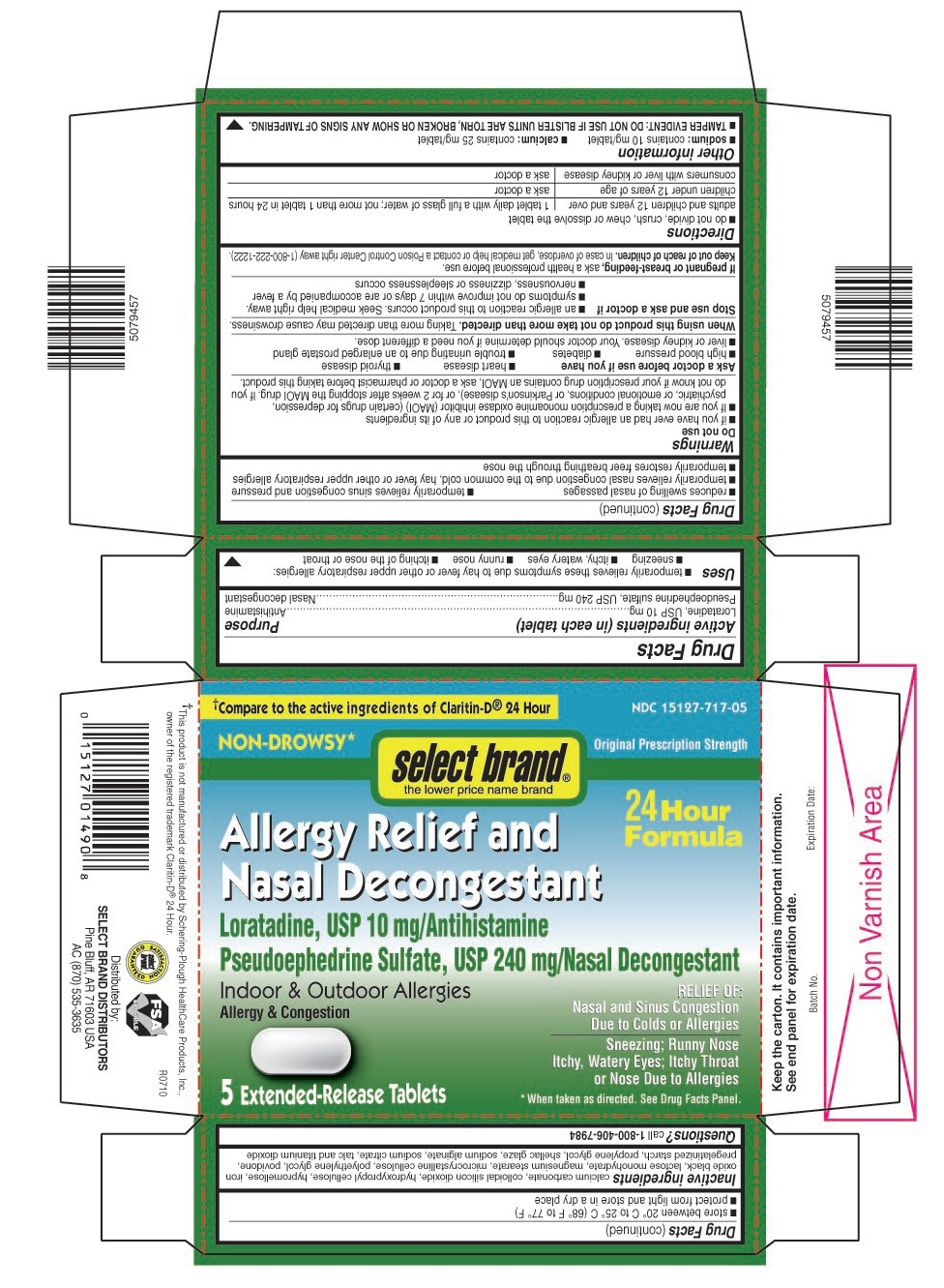 This is the 5 count blister carton label for Select Brand Loratadine D tablets.