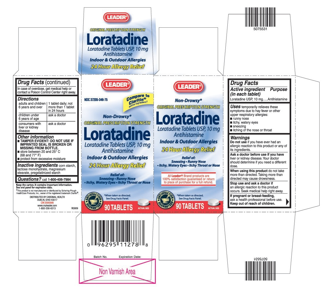 This is the 90 count bottle carton label for Leader Loratadine tablets USP, 10 mg.