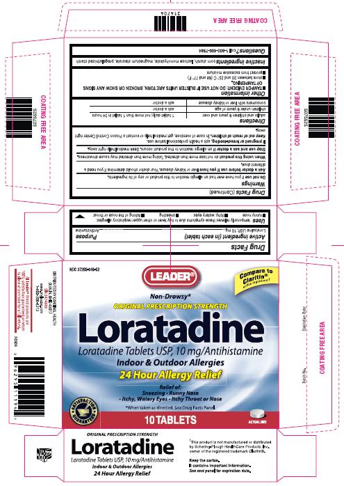 This is the 10 count blister carton label for Leader Loratadine tablets USP, 10 mg.