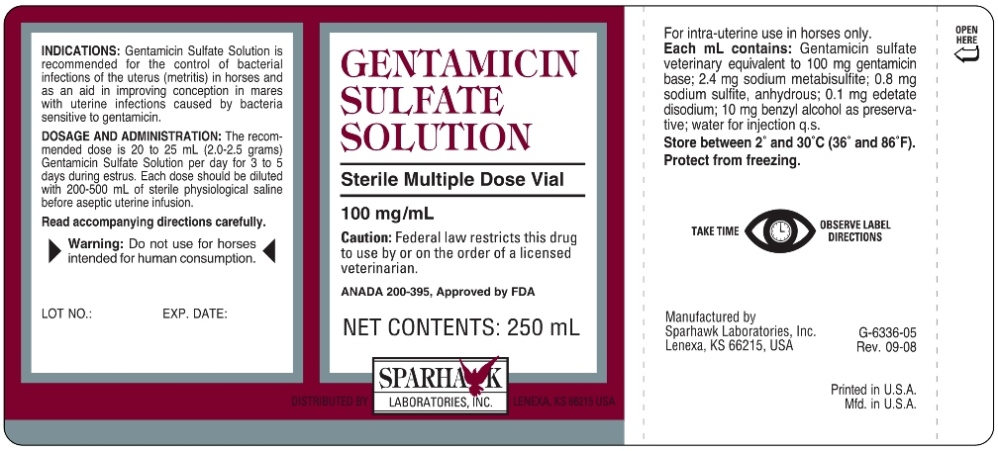 Gentamicin Sulfate Solution Label