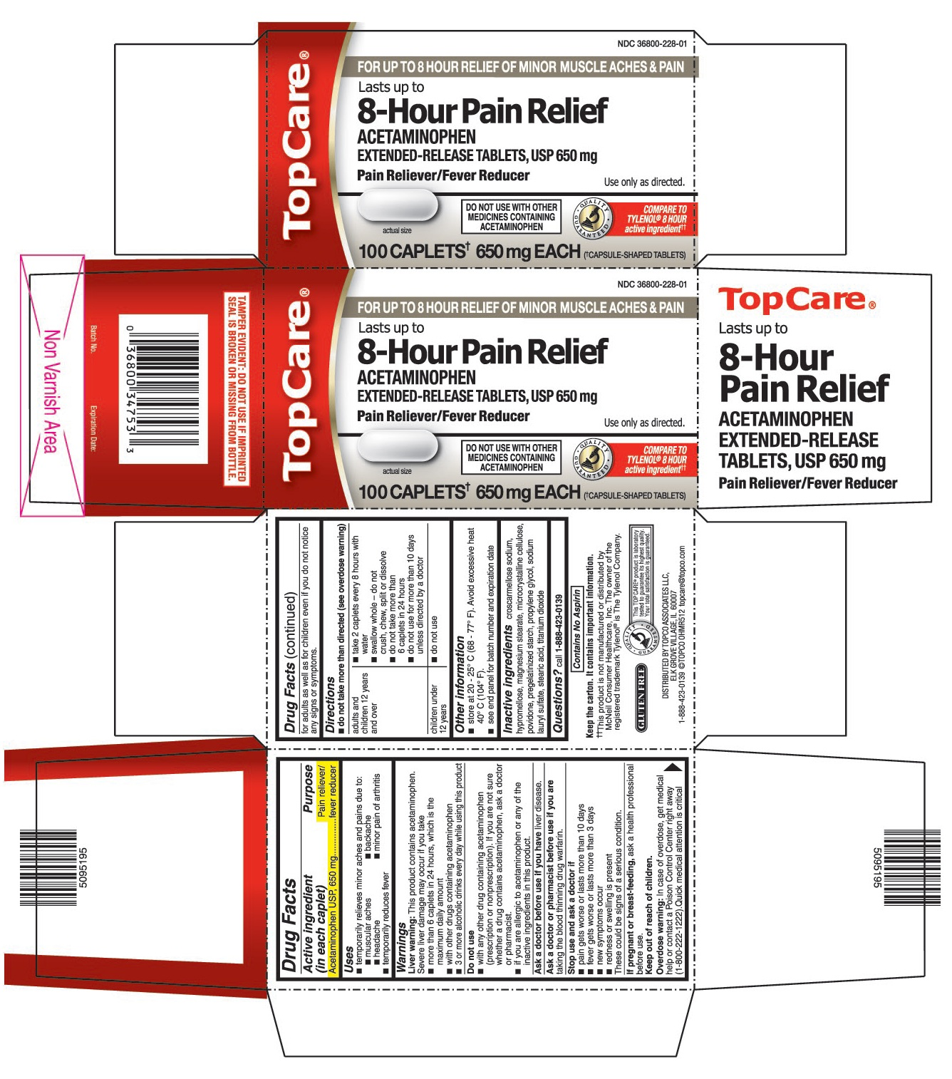 This is the 100 count bottle carton label for Topco Acetaminophen extended-release tablets, USP 650 mg.