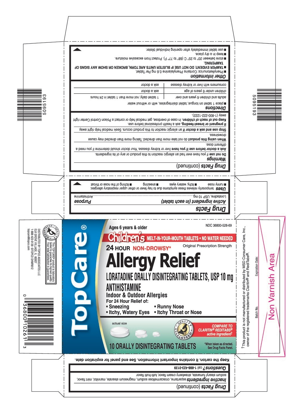 This is the 10 count blister carton label for TopCare Loratadine ODT, USP 10 mg (Children's).