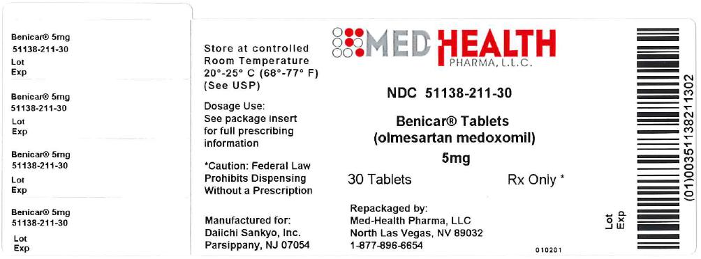 Benicar Tablets - Package Label - 5 mg 30 ct Bottle Label