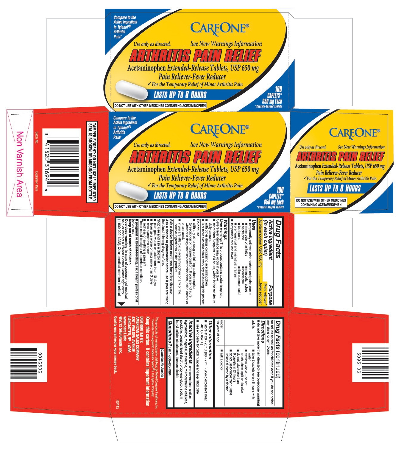 This is the 100 count bottle carton label for Careone Acetaminophen extended-release tablets, USP 650 mg.