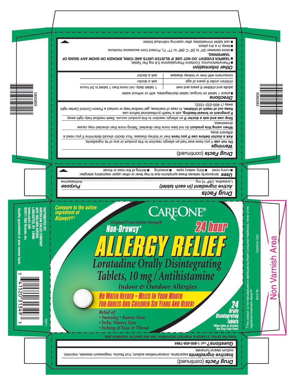 This is the 24 count blister carton label for Careone Loratadine ODT, 10 mg.