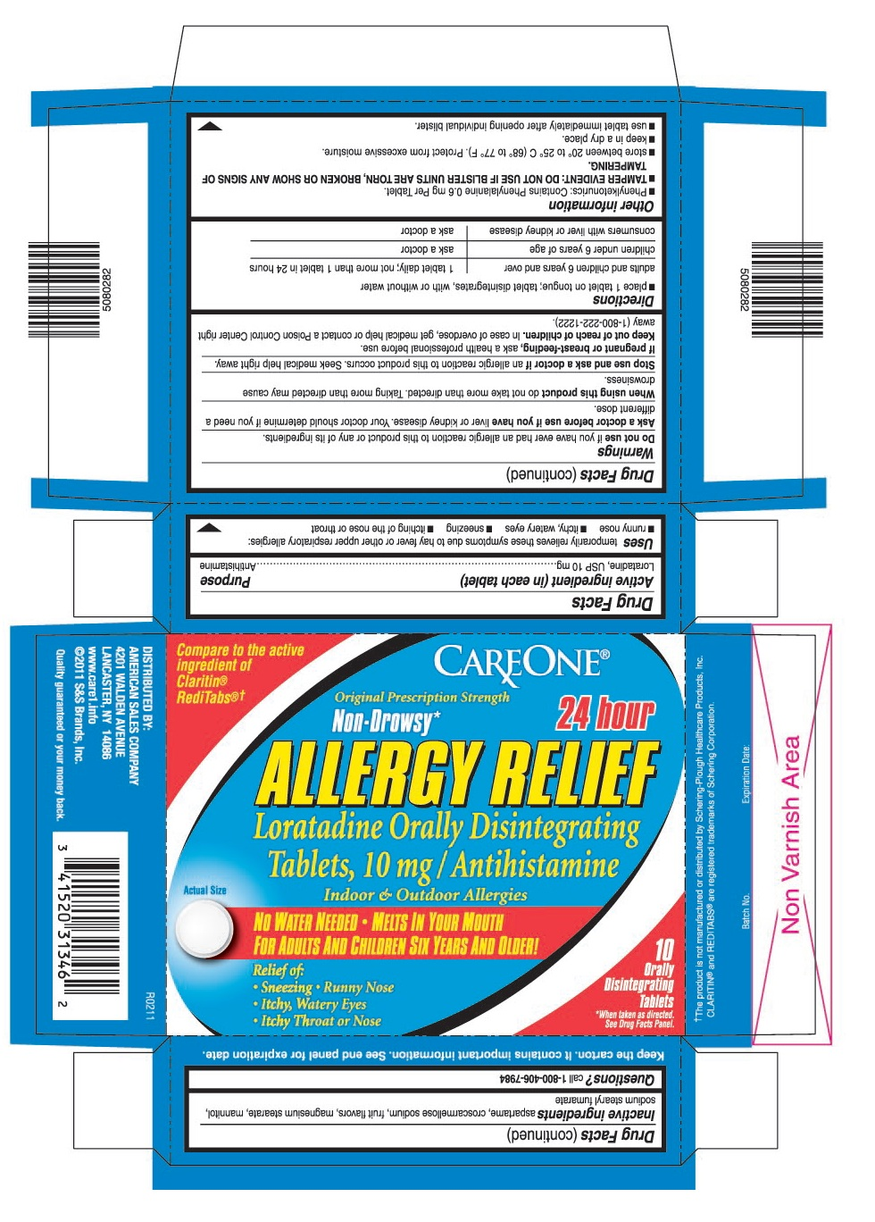 This is the 10 count blister carton label for Careone Loratadine ODT, 10 mg.