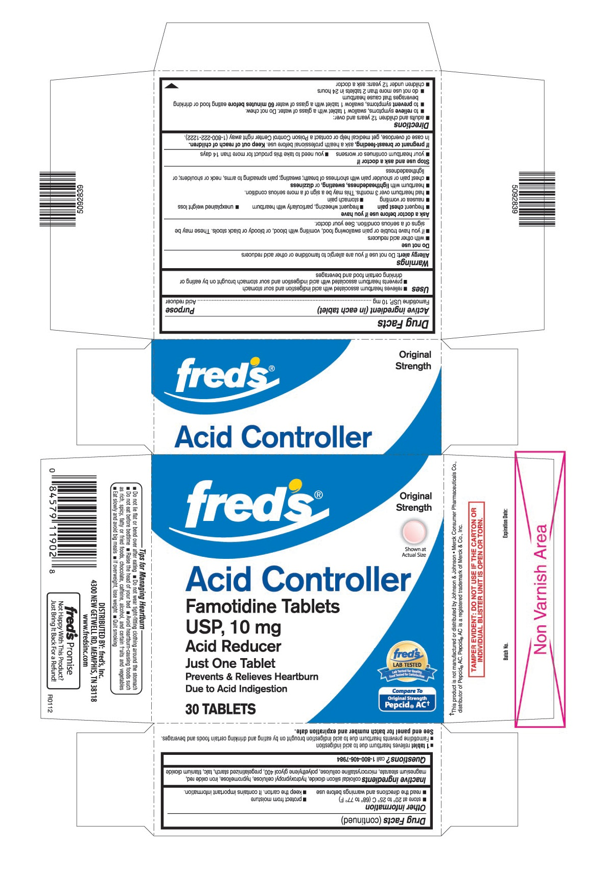 This is the 30 count blister carton label for Fred's Famotidine tablets USP, 10 mg.