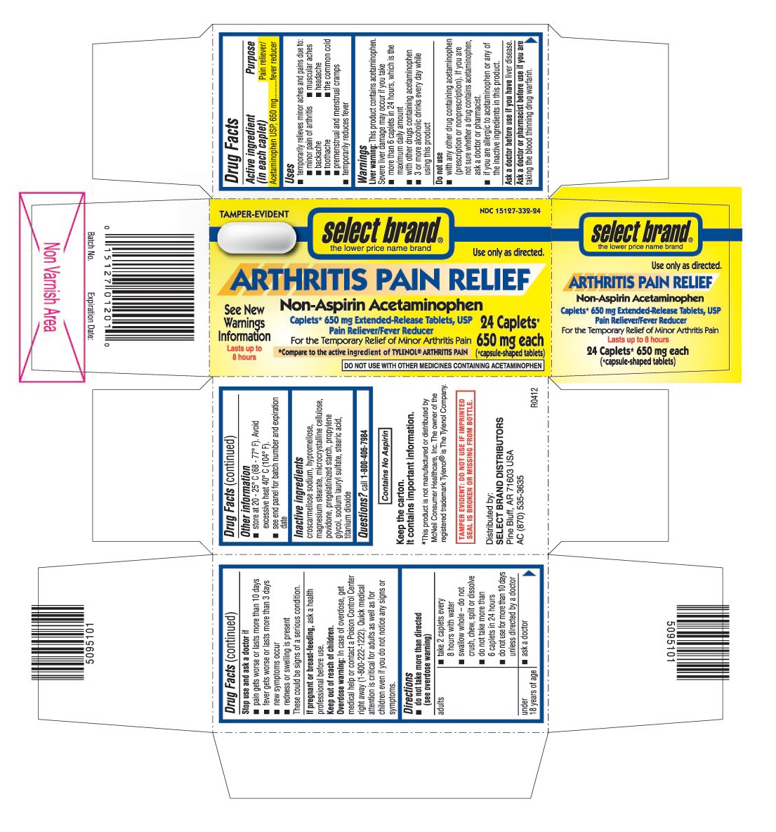 This is the 24 count blister carton label for Select Brand Acetaminophen extended-release tablets, USP 650 mg.
