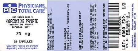 Hydroxyzine 25 mg package label