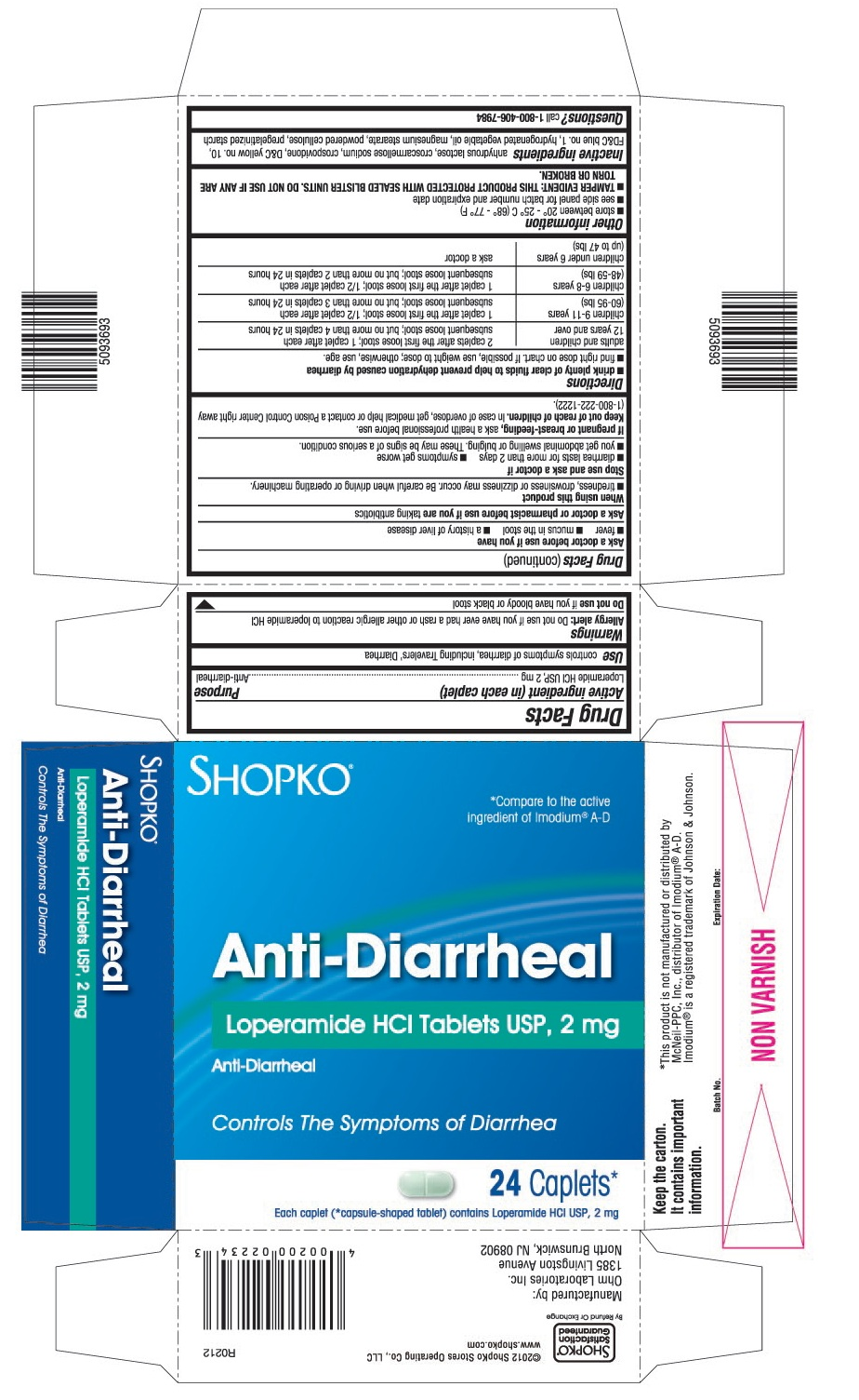This is the 24 count blister carton label for Shopko Loperamide HCl tablets USP, 2 mg.