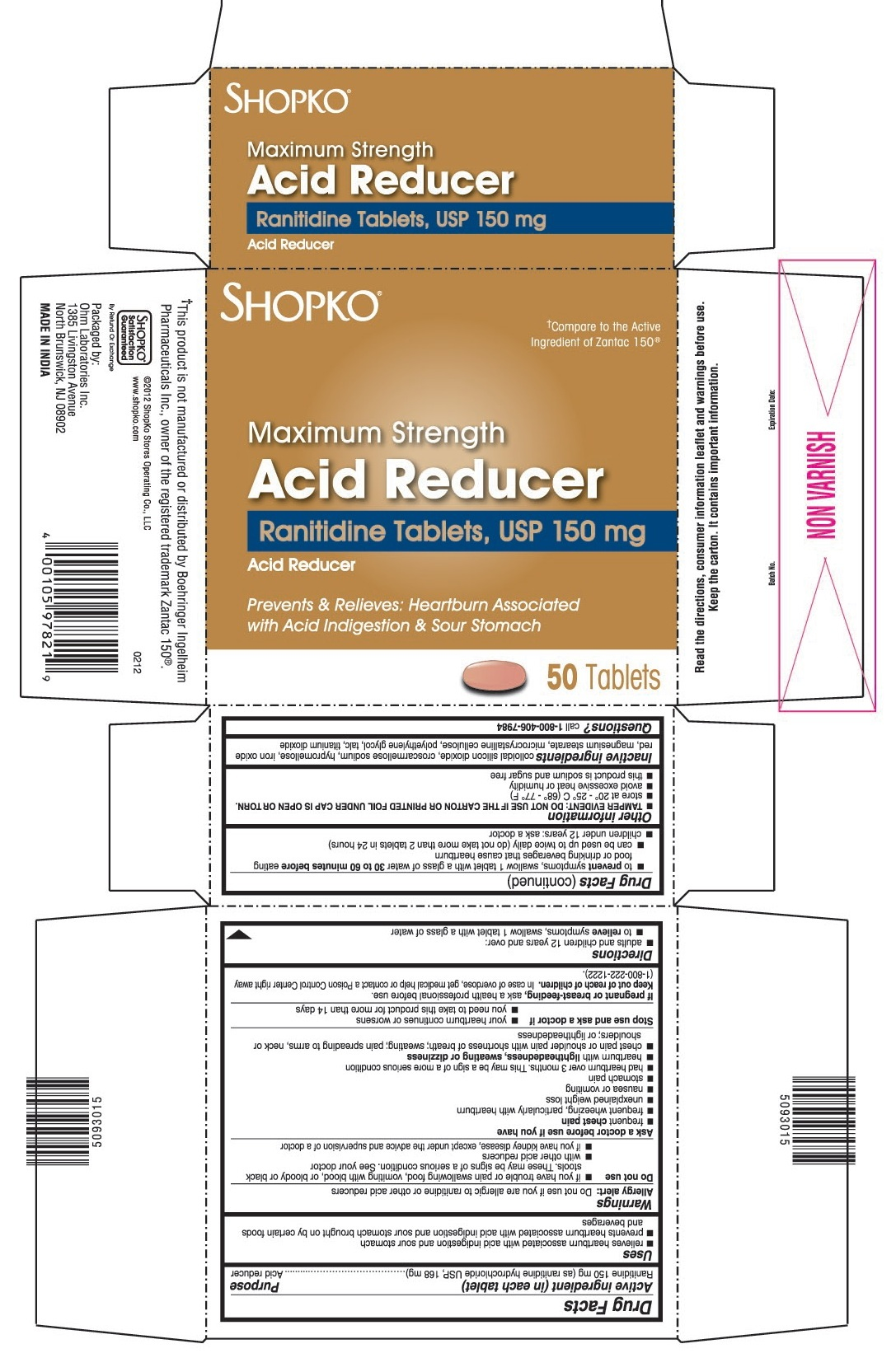 This is the 50 count bottle carton label for Shopko Ranitidine tablets, USP 150 mg.