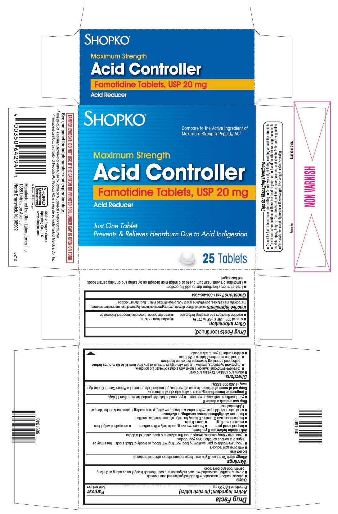 This is the 25 count bottle carton label for Shopko Famotidine tablets, USP 20 mg.