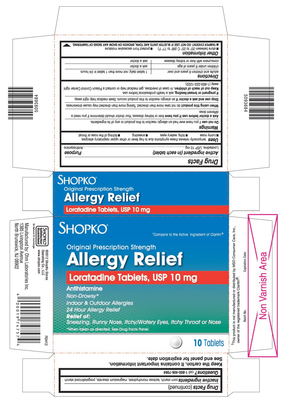 This is the 10 count blister carton label for Shopko Loratadine tablets, USP 10 mg
