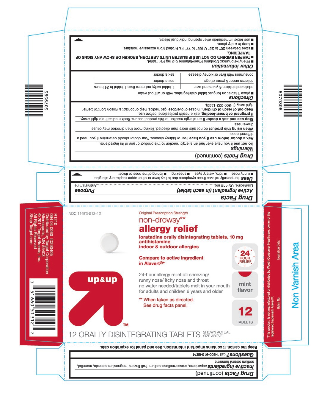 This is the 12 count blister carton label for Target Loratadine ODT (Alavert like).