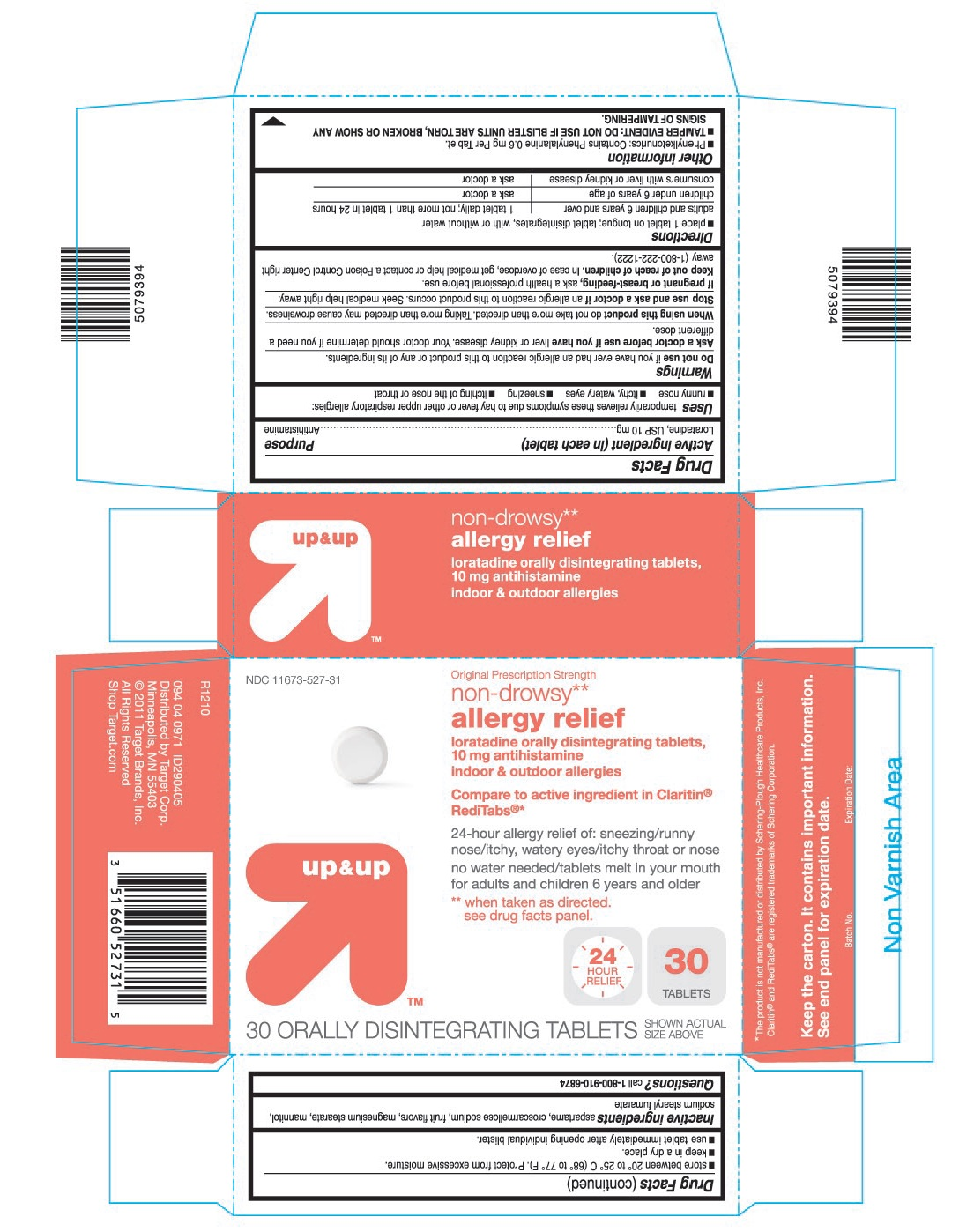 This is the 30 count blister carton label for Target Loratadine ODT (Claritin like).