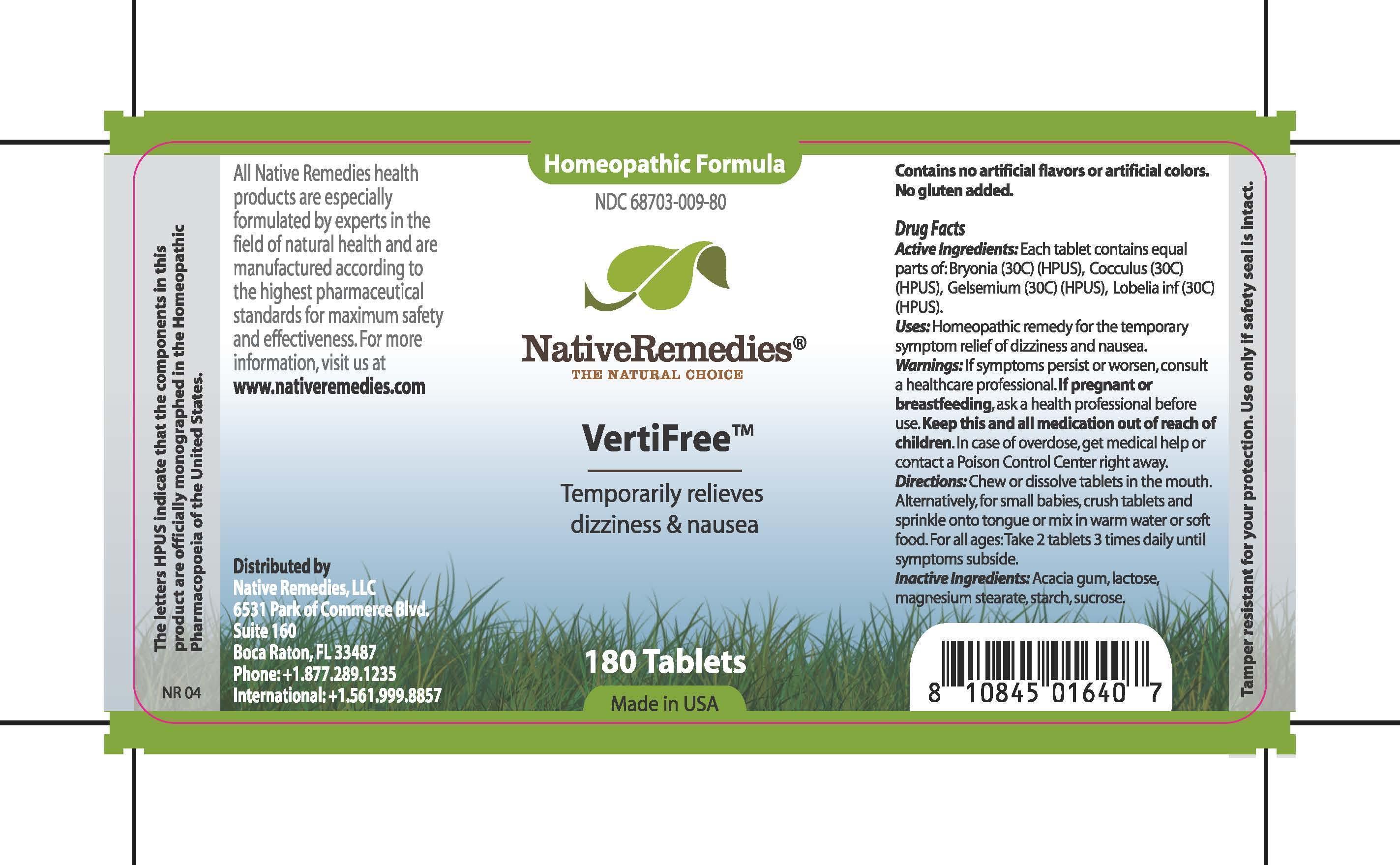 Vertifree (Bryonia , Cocculus, Gelsemium, Lobelia Inf, Acacia Gum, Lactose, Magnesium Stearate, Corn Starch, Sucrose) Tablet [Native Remedies Llc]