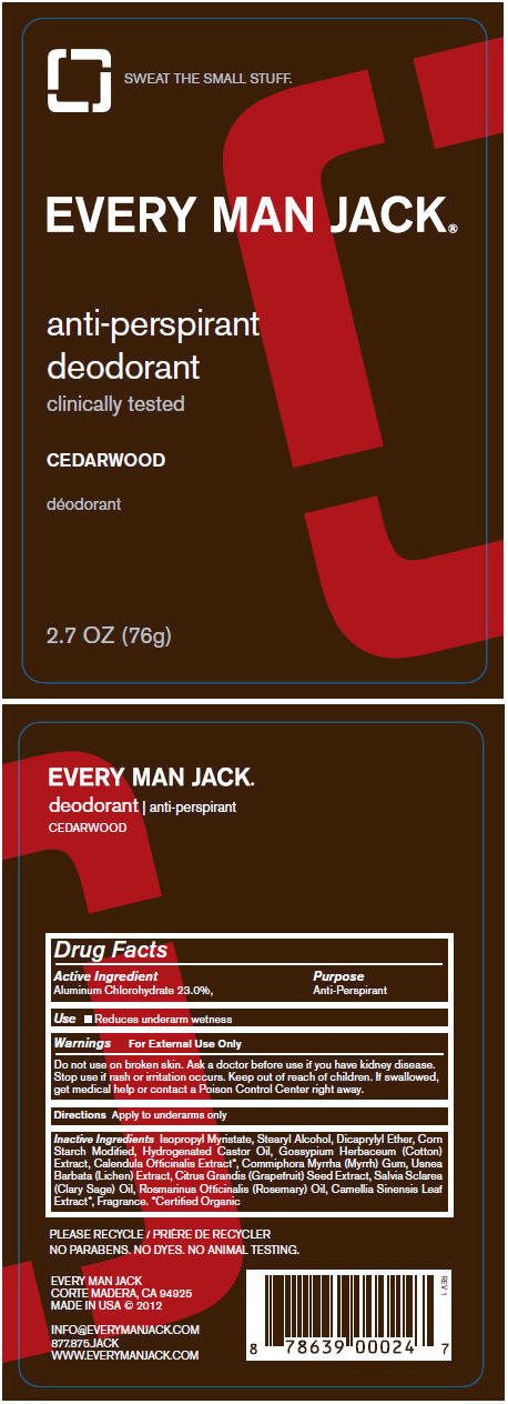 Antiperspirant Cedarwood (Aluminum Chlorohydrate) Stick Antiperspirant Sandalwood (Aluminum Chlorohydrate) Stick [Every Man Jack]