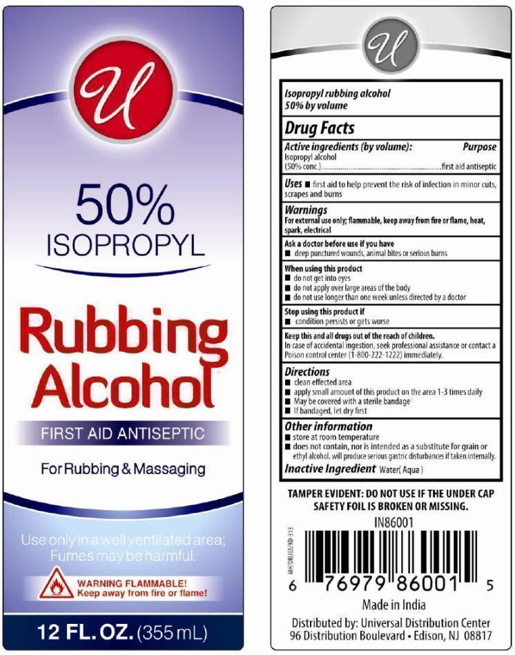 Isopropyl Rubbing Alcohol 50% (Isopropyl Alcohol) Liquid [ Universal Distribution Center Llc]