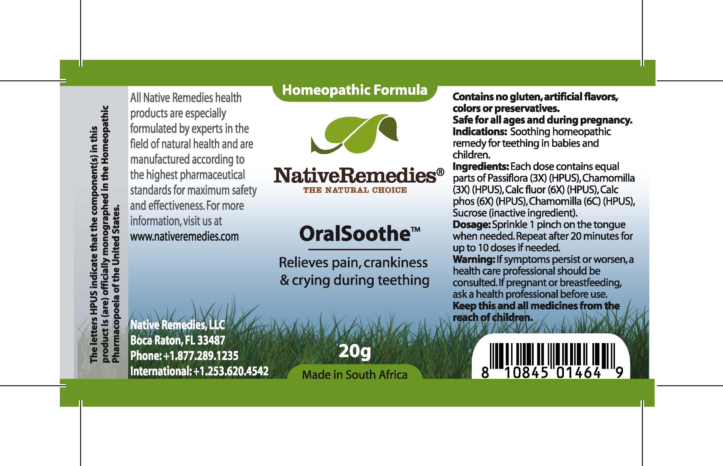 Oral Soothe (Passiflora, Chamomilla, Calc Fluor, Calc Phos, Chamomilla) Granule [Feelgood Health]