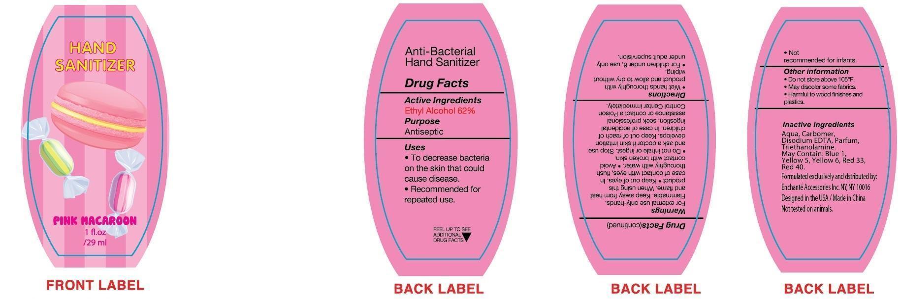 Pink Macaroon Hand Sanitizer (Alcohol) Liquid [Enchante Accessories Inc. ]