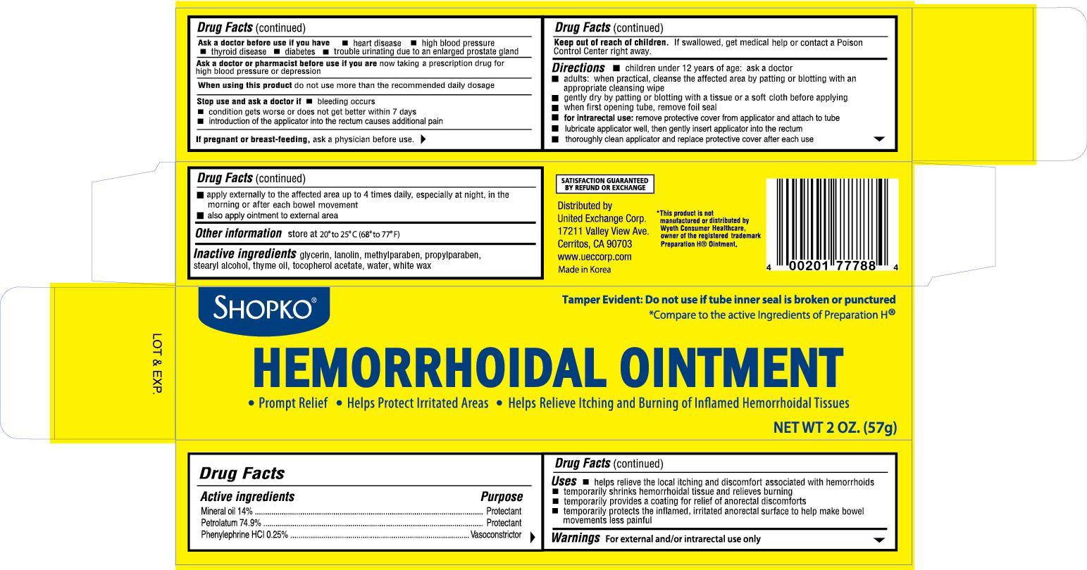 Shopko Hemorrhoidal (Mineral Oil) Ointment [United Exchange Corp]