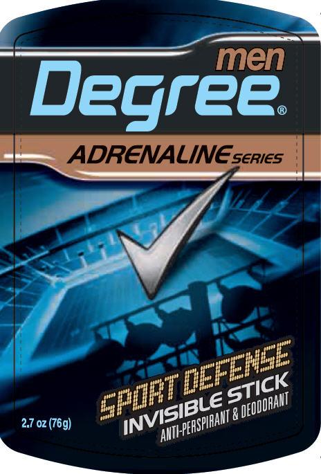 Degree Adrenaline Sport Defense Invisible Stick Antiperspirant And Deodorant (Aluminum Zirconium Tetrachlorohydrex Gly) Stick [Conopco Inc. D/b/a Unilever]