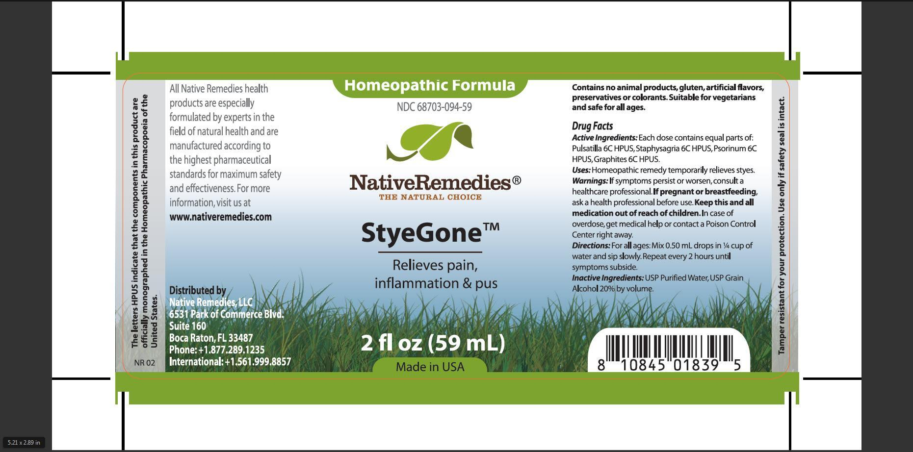 Styegone (Pulsatilla, Staphysagria, Psorinum, Graphites) Tincture [Native Remedies, Llc]