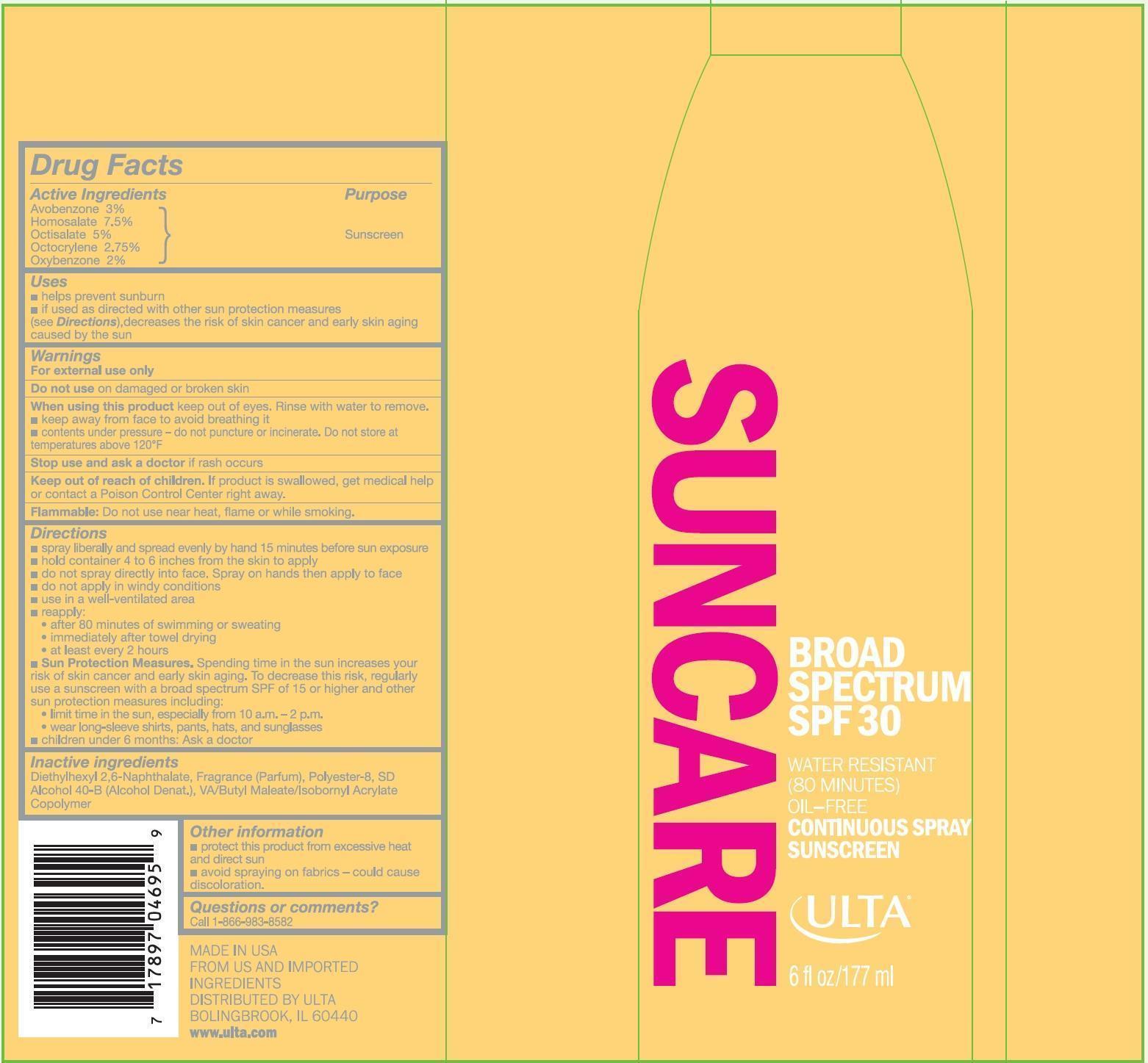 Ulta Broad Spectrum Spf 30 (Avobenzone, Homosalate, Octisalate, Octocrylene And Oxybenzone) Spray [Prime Packaging, Inc.]