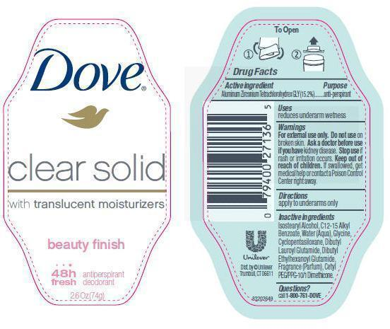 Dove Clear Solid Beauty Finish Antiperspirant And Deodorant (Aluminum Zirconium Tetrachlorohydrex Gly) Stick [Conopco Inc. D/b/a Unilever]