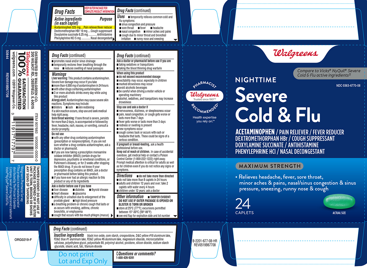 Cold And Flu Severe, Nighttime, Maximum Strength (Acetaminophen, Dextromethorphan Hbr, Doxylamine Succinate, Phenylephrine Hcl) Tablet, Film Coated [Walgreen Co.]