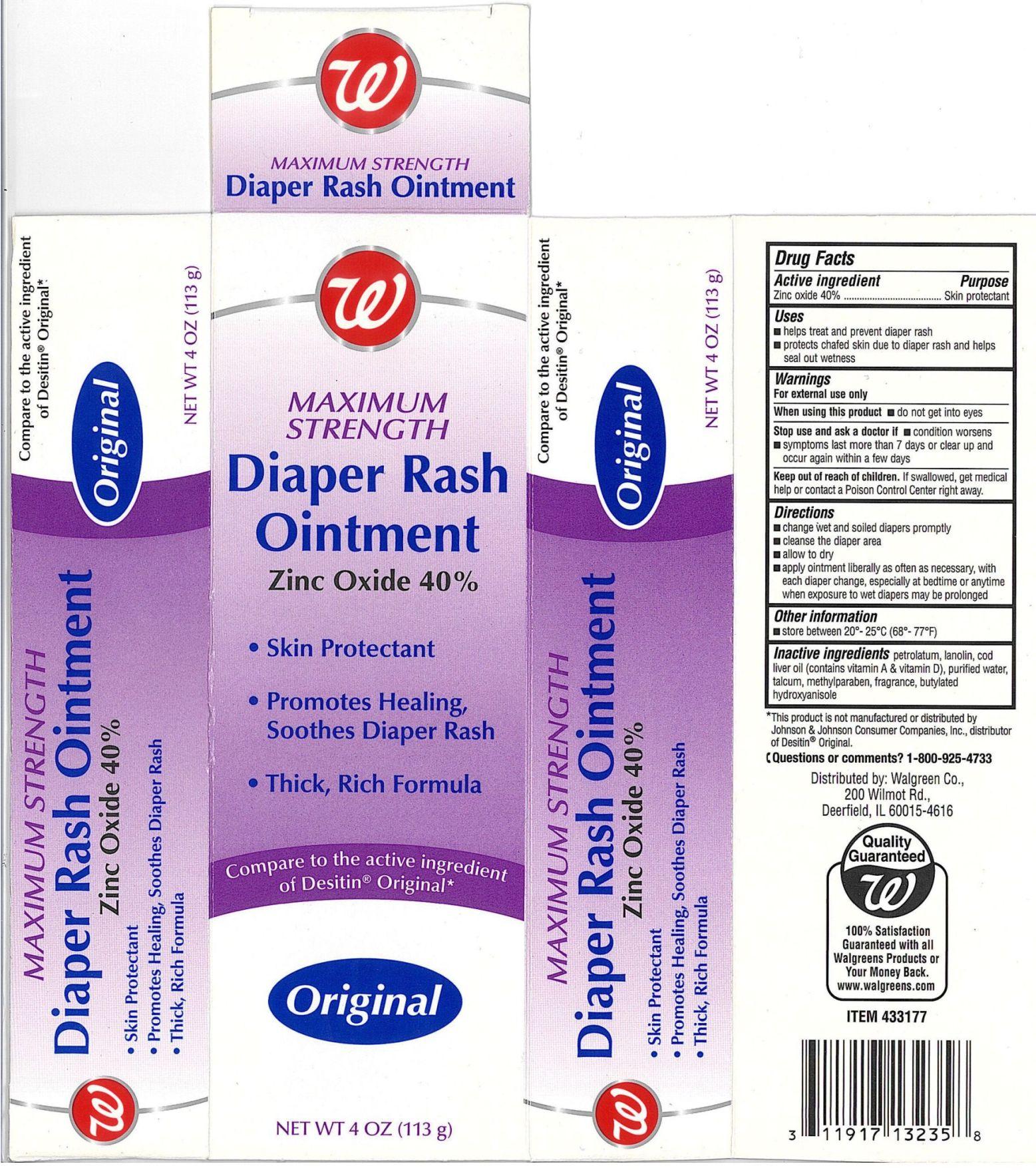 Walgreen Maximum Strength Diaper Rash (Zinc Oxide) Ointment [Walgreen Company]