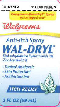 Anti-itch Wal-dryl (Diphenhydramine Hcl, Zinc Acetate) Spray [Walgreen's Co]