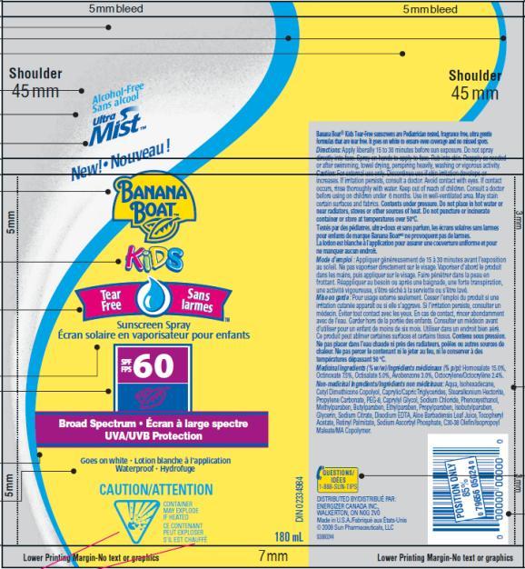 PRINCIPAL DISPLAY PANEL Banana Boat Kids Tear-Free Sunscreen Spray SPF 60