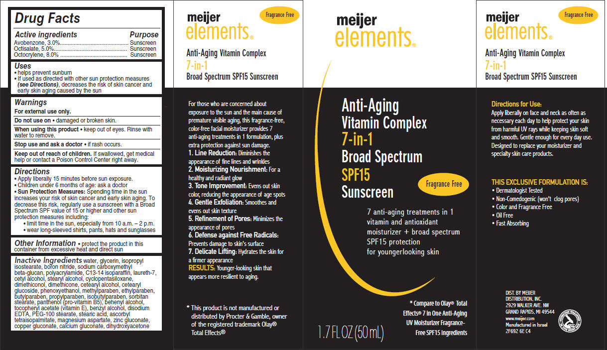 Meijer Elements 7-in-1 Anti-aging Vitamin (Avobenzone, Octisalate And Octocrylene) Cream [Meijer Distribution Inc.]