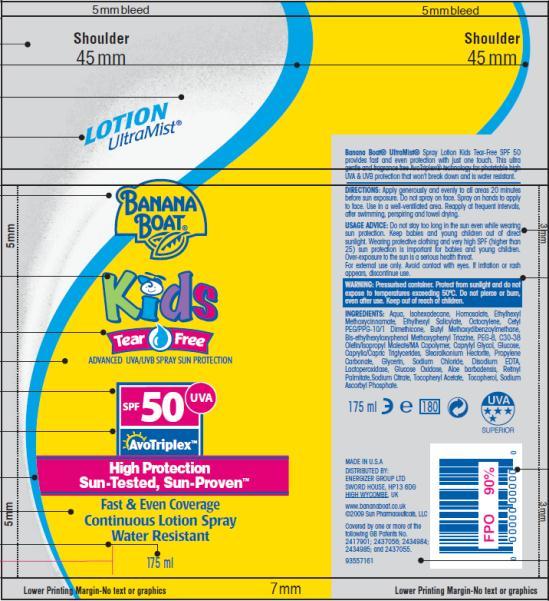 PRINCIPAL DISPLAY PANEL Banana Boat UltraMist Kids Tear Free Lotion Spray SPF 50