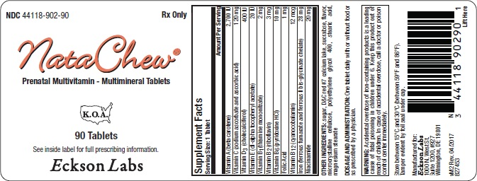 Natachew (.beta.-carotene, Ascorbic Acid, Cholecalciferol, .alpha.-tocopherol Acetate, D-, Thiamine Mononitrate, Riboflavin, Pyridoxine Hydrochloride, Folic Acid, Cyanocobalamin, Iron, Niacinamide) Tablet, Chewable [Eckson Labs, Llc]