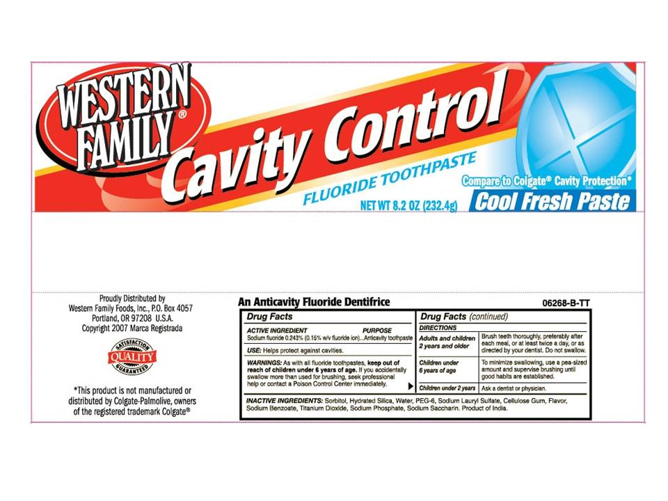 Western Family Cavity Control (Sodium Fluoride) Paste, Dentifrice [Western Family Foods, Inc]