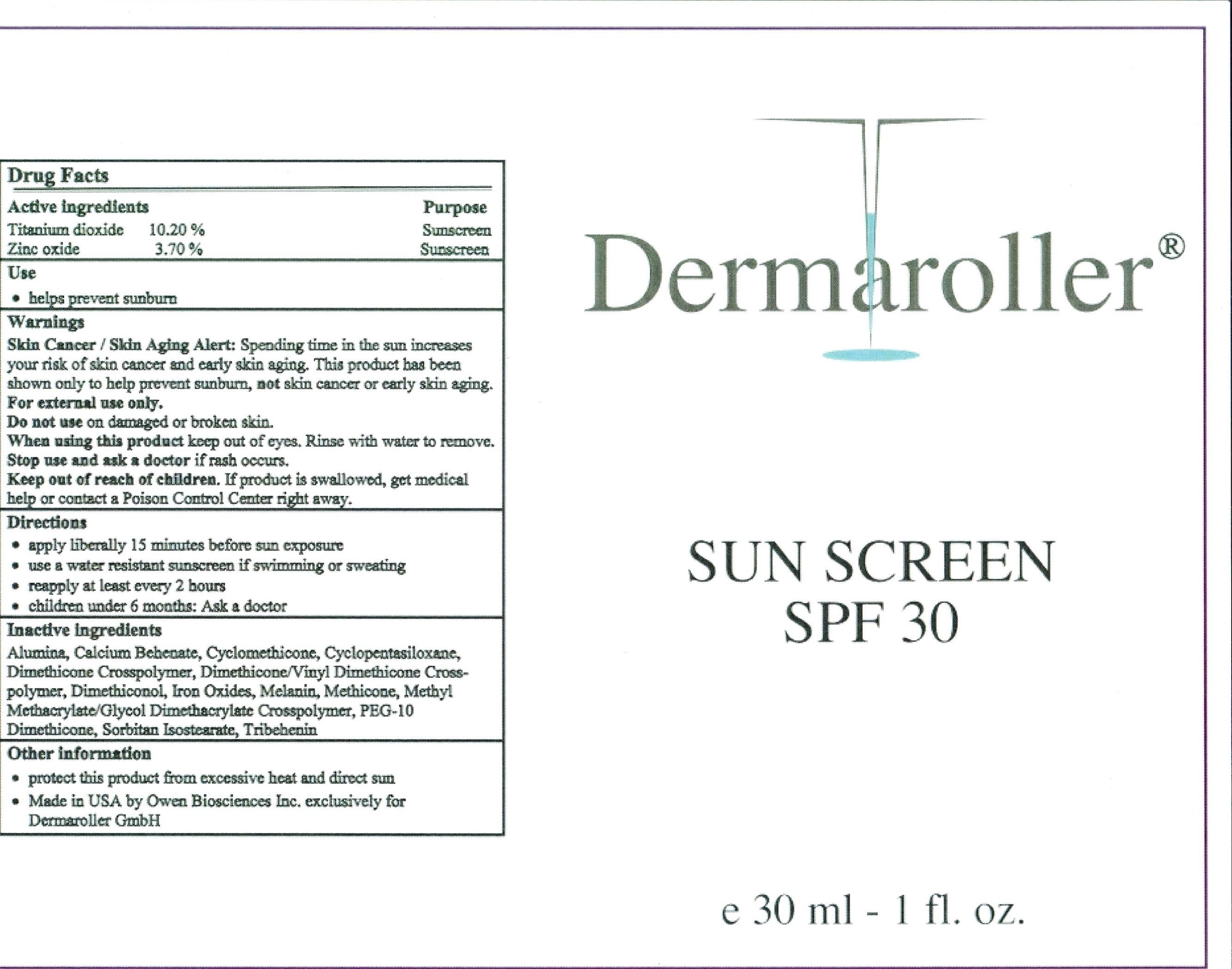 Dermaroller Anhydrous Sunscreen Spf 30 (Titanium Dioxide, Zinc Oxide) Cream [Owen Biosciences, Inc.]