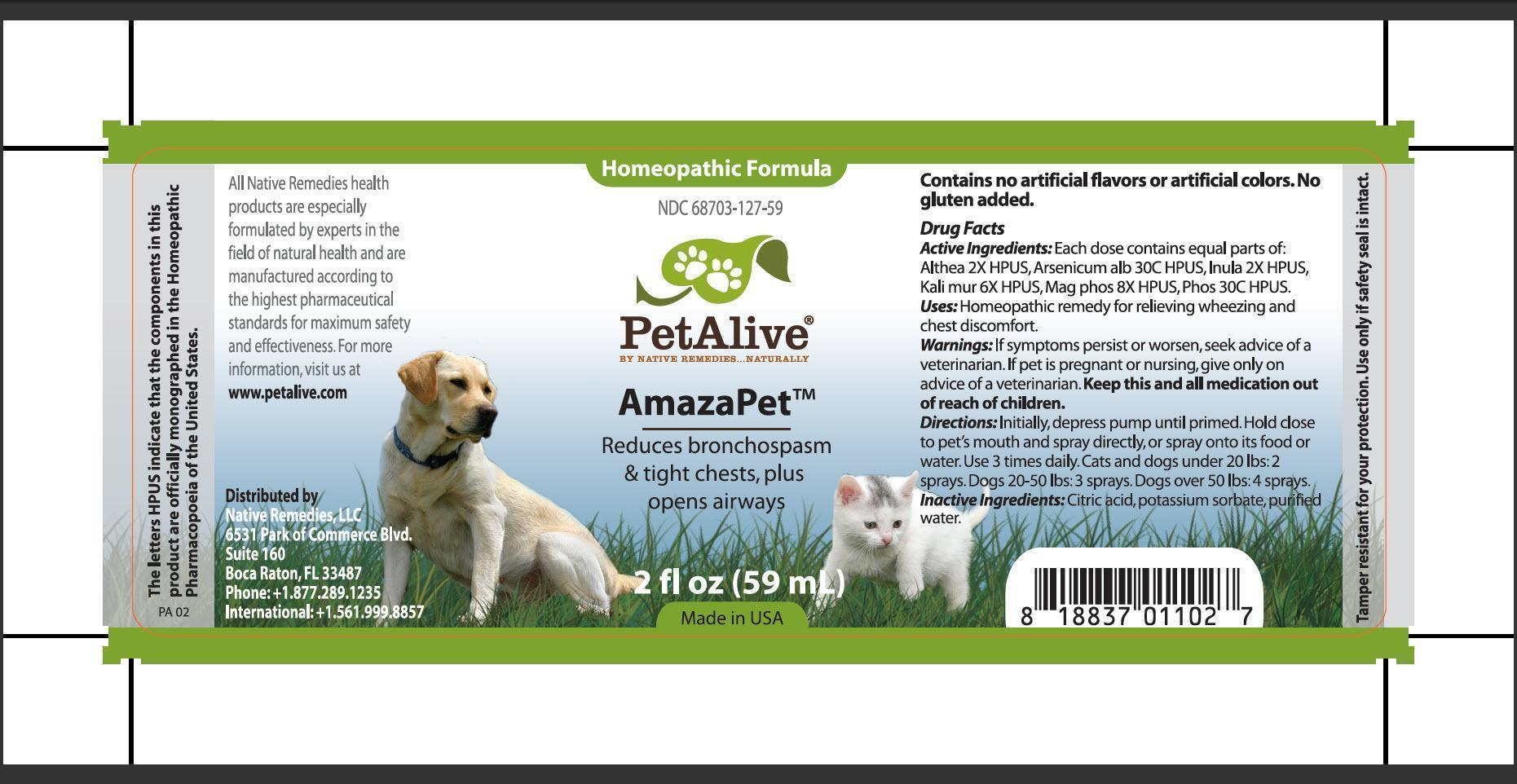 Petalive Amazapet (Althea, Arsenicum Alb, Inula, Kali Mur, Mag Phos, Phos) Spray [Native Remedies, Llc]