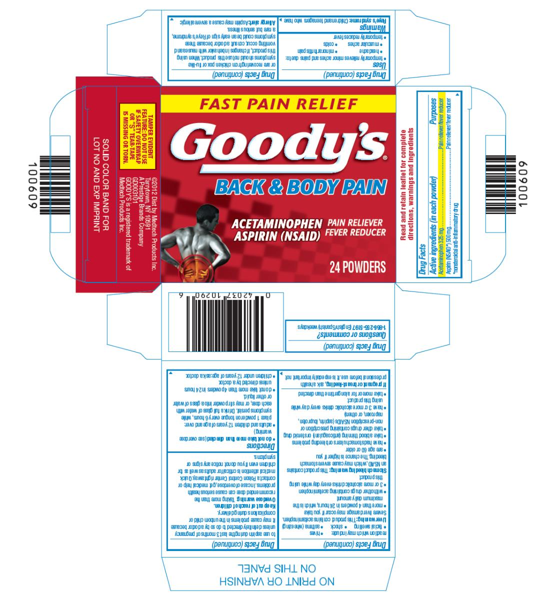 Goodys Back And Body Pain (Acetaminophen And Asprin) Powder [Medtech Products Inc.]