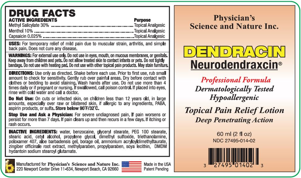 Dendracin Neurodendraxcin (Methyl Salicylate, Menthol And Capsaicin) Lotion [Physicians Science & Nature Inc.]