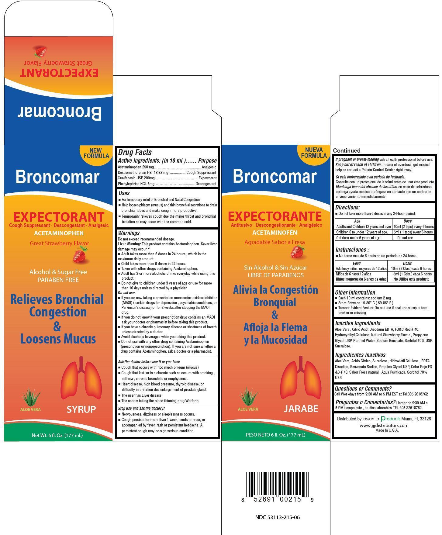 Broncomar (Acetaminophen, Dextromethorphan Hbr, Guaifenesin, Phenylephrine Hcl) Liquid [Gadal Laboratories Inc]