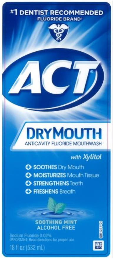 #1 DENTIST RECOMMENDED  FLUORIDE BRAND ACT® TOTAL CARE  ANTICAVITY FLUORIDE RINSE  DRY MOUTH ● SOOTHES Dry Mouth ● MOISTURIZES Mouth Tissue ● STRENGTHENS Teeth ● FRESHENS Breath Sodium Fluoride 0.02% 18 fl oz (532 mL)